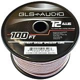GLS Audio Premium 12 Gauge 100 Feet Speaker Wire - True 12AWG Speaker Cable 100ft Clear Jacket - High Quality 100' Spool Roll 12G 12/2 Bulk
