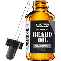 Fragrance Free Beard Oil & Leave in Conditioner, 100% Pure Natural for Groomed Beards, Mustaches, and Moisturized Skin 1 oz by Ranger Grooming Co by Leven Rose (Beard Oil)  Image