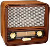 ClearClick Classic Vintage Retro Style AM/FM Radio Bluetooth & Aux-in - Handmade Wooden Exterior