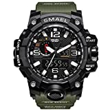 KXAITO Men's Watches Sports Outdoor Waterproof Military Watch Date Multi Function Tactics LED Alarm Stopwatch (Green)