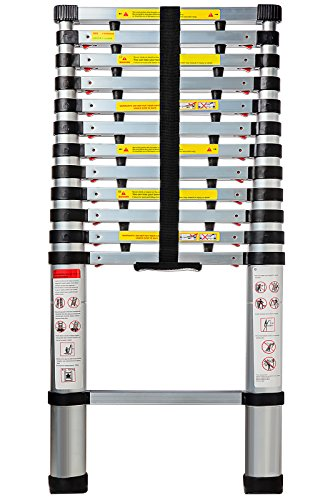 OxGord 12.5 Feet Aluminum Telescopic Extension Ladder - EN131 Certified - Extendable wih Spring Load Locking Mechanism Non-Slip - 330 lb Max Capacity