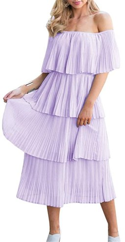 ETCYY NEW Women's Off The Shoulder Sleeveless Tiered Ruffle Pleated Casual Midi Dress Purple
