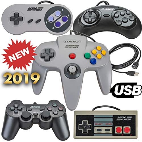 New 2019: 5 USB Classic Controllers - Nintendo (NES), Super Nintendo (SNES), Sega Genesis, Nintendo 64 (N64), Playstation 2 (PS2) for RetroPie, PC, HyperSpin, MAME, Emulator, Raspberry Pi Gamepad