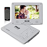 Upgraded 2017 Pyle 9' Portable Travel  DVD Player, Use as Car CD  DVD Player, Rechargeable Battery, USB/SD, Headphone Jack, Includes Remote Control, Car Charger, Travel Bag, White (PDV91WT)
