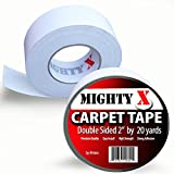 Mighty'X' Carpet Tape - Double Sided - 60 Feet x 2 Inches - Extra Thick - 20 Yards of Heavy Duty...