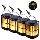 Balight Solar Torch Lights,Dancing Flame Lighting 96 LED Flickering Tiki Torches Waterproof Wireless Auto On/Off Outdoor Light for Patio Garden Path Yard Wedding Party (Style B (4pcs))