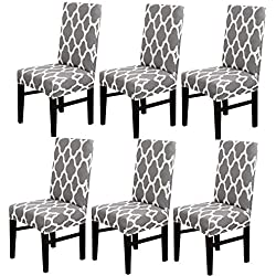 MIFXIN Chair Cover Set High Back Chair Protective Cover Slipcover Universal Stretch Elastic Chair Protector Seat Covers for Dining Room Wedding Banquet Party Decoration (Grey+White, 6 Pcs)