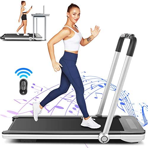 FUNMILY 2 in 1 Under Desk Folding Treadmill, 2.25HP Walking Running Machine with Bluetooth Speaker, Remote Control, Built-in 5 Modes & 12 Programs, Installation-Free, 2020 Model 1