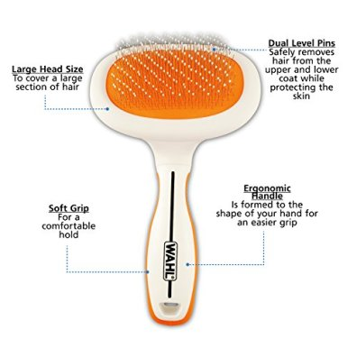 WAHL-Premium-Dual-Level-Slicker-Pet-Tool-Ergonomic-Large-Animal-Grooming-Brush-Deshedding-Grooming-Tool--OrangeWhite