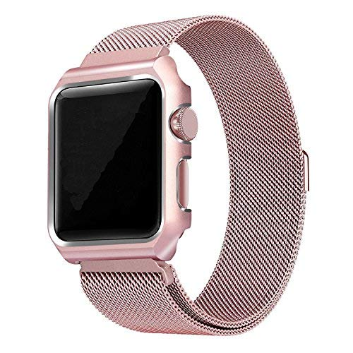 ZXK CO Apple Watch Band with Case, Stainless Steel Mesh Milanese Loop with Metal Frame and Adjustable Magnetic Closure Strap compatible with apple Watch Series 3 2 1 Nike+ Sport Edition 38mm,Rose Gold