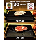 BeChef Defrosting Tray | Thawing Plate for Fast defrosting of frozen foods | With Drip tray, silicone basting brush and shredding claws | No Electricity, No Chemicals, No Microwave | Premium Quality