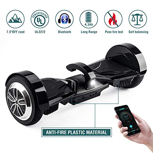 """OFF ROAD Hoverboard Koowheel 7.5"""" All Terrain Hoverboard with Bluetooth Speaker and LED Lights,UL2272 Certified Two Wheel Self Balancing scooter for Adults and Kids,App Enabled(12Km/h 220lbs Max)Black"""