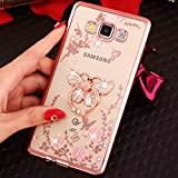 Galaxy Note8 Diamond Ring Movie Stand Case, Shiny Flying Butterfly 360° Rotating Kickstand Clear Garden Flower Soft TPU Cover, TAITOU Plating Bumper Phone Case For Samsung Galaxy Note 8 RoseGold