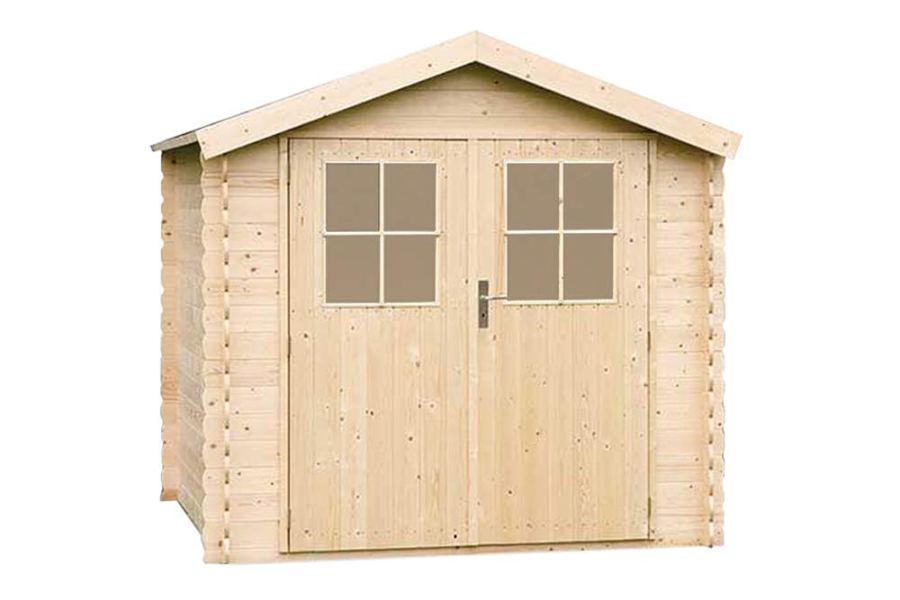 Alpholz Gartenhaus Mons aus Massiv-Holz | Gerätehaus mit 19 mm Wandstärke | Garten Holzhaus inklusive Montagematerial & Dachpappe | Geräteschuppen Größe: 225 x 210 cm | Satteldach