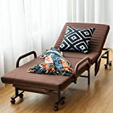 Giantex Folding Guest Bed Frame with Mattress, Foldaway 3.5 inch Twin Mattress, Portable Single Sleeper Bed w/Wheels for Camping Office Nap, Adjustable Guest Bed w/Storage Bag (Brown)