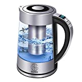 Soing Electric Kettle Pro,1.8L Glass Water & Tea Cordless Boiler,Variable Temperature Control & 24 Hours Keep-Warm Function,Detachable Tea Filter,Blue LED Indicator Light,Auto Shut-Off & Advanced Boil-Dry Protection,100% Food-Grade Stainless Steel,1500W Fast Heating