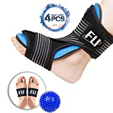 Plantar Fasciitis Night Splint for Effective Relief from Plantar Fasciitis Pain, Heel Spur, Arch Foot Pain, Foot Drop Orthotic Brace for Sleep Support with Hard Spiky Massage Ball & Arch Support Brace