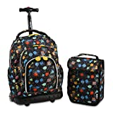 J World New York Kids' Lollipop Rolling Backpack With Lunch Self-Magnetic Sparkling Wheel and'FREE'Lunch Bag, Party Mobs, 16'