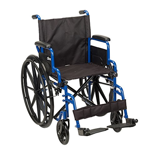 Drive Medical Blue Streak Wheelchair with Flip Back Desk Arms, Swing Away Footrests, 20' Seat