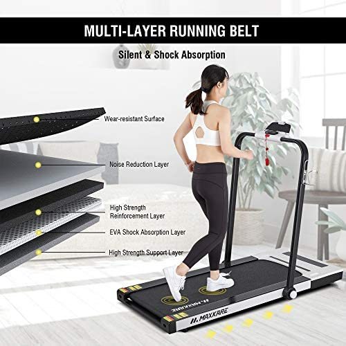 MaxKare Folding Treadmill 2 in 1 Running & Walking Treadmill Electric Treadmill Running Machine with 2.2HP Motor Remote Control & Large LCD Display for Home Office Use 5