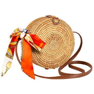 Round Rattan Bag for Women Lefur Handwoven Straw Bag Beach Crossbody Purse with Shoulder Straps Lined Boho Handbag 26 Fashion Online Shop gifts for her gifts for him womens full figure