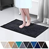 DEARTOWN 20x32 Inch TPR Non-Slip Soft Microfibers of Bathroom Rug Machine-Washable Shaggy Bath Mats (20x32 Inches, Dark Gray)