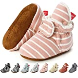 Sawimlgy US Newborn Baby Boys Girls Cozy Fleece Booties Stay On Slippers Socks Infant Soft Soles Grippers Non-Skid Crib Shoe First Birthday Gift