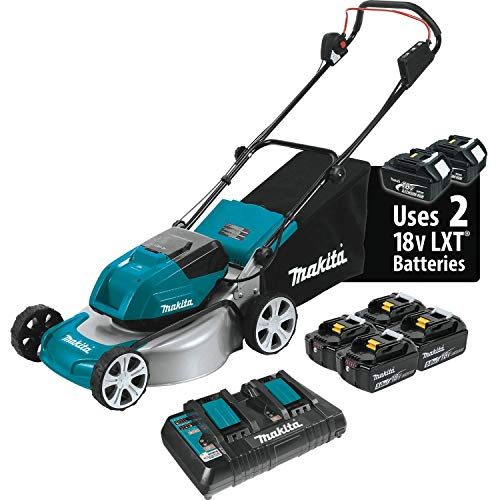 Makita XML03PT1 18V X2 (36V) LXT Lithium‑Ion Kit with 4 Batteries (5.0Ah) Brushless Cordless 18' Lawn Mower', Teal
