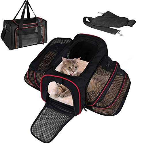 LOGROTATE Pet Carrier Bag, Airline Approved Portable Airplane Pet Dog Carrier Soft Double Sided Expandable Travel Carriers Bag for Dogs Cats Kittens Puppies & Small and Medium Animals 1
