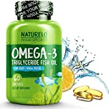 NATURELO Premium Omega-3 Fish Oil - 1100 mg Triglyceride Omega 3 - High Strength DHA EPA Supplement - Best for Brain Heart Joint Health - 60 Softgels   2 Month Supply