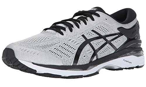 ASICS Mens Gel-Kayano 24 Running Shoe, Silver/Black/Mid Grey, 10.5 Medium US