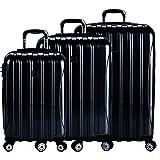 DELSEY Paris Delsey Luggage Helium Aero 3 Piece Spinner Luggage Set (Black)