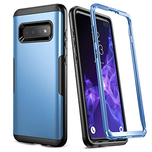 YOUMAKER Case for Galaxy S10+ Plus, Metallic Blue Heavy Duty Protection Full Body Shockproof Slim Fit Without Built-in Screen Protector Cover for Samsung Galaxy S10 Plus 6.4 inch (2019) - Blue/Black