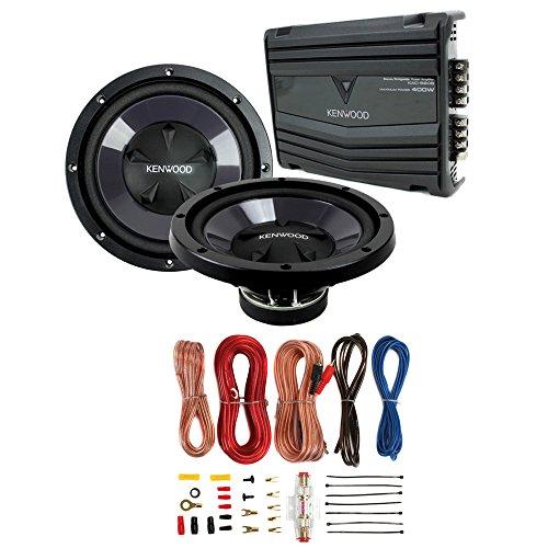2) New Kenwood KFC-W110S 10' 1400W Car Subwoofers + KAC-5207 400W Amp + Amp Kit