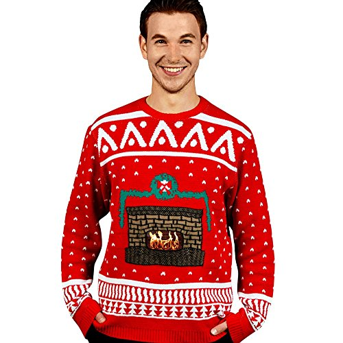 Digital Dudz Fireplace Ugly Christmas Sweater, Red, Small