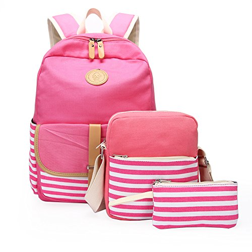 School Backpack, Aiduy Student Canvas Bookbag Lightweight Laptop Bag with Shoulder Bags and Pen Case for Teen Boys and Girls (Pink, 3pcs)