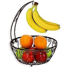 SimpleHouseware Fruit Basket Bowl with Banana Tree Hanger, Bronze