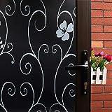 Mikomer Iron Flower Total Blackout Window Film, Light Blocking Glass Door Film,Room Darkening Window Cling,No Glue/Heat Control/Anti UV for Day Sleep & High Privacy,17.5 in. by 78.7In.