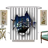 luvoluxhome Shower Curtain Collection by City in rip Hole at Paper Collage Night Urban Landscape Custom Made Shower Curtain W36 x L72