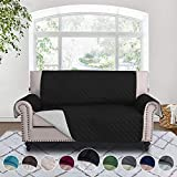 RHF Reversible Loveseat Covers for Dogs, Couch Covers for Dogs, Loveseat Cover for Dogs,Pet Cover for Loveseat, Loveseat Slipcover&Love Seat Couch Covers, Machine Washable (Loveseat: Black/Gray)