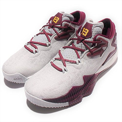 adidas Men's Crazylight Boost Low Basketball Shoes, Onix Gold-Maroon,15 M US