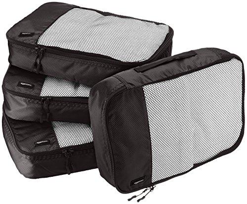 AmazonBasics 4 Piece Packing Travel Organizer Cubes Set - Medium, Black