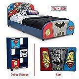 Delta Children – Justice League Twin Furniture Set, 3-Piece by DC Comics (Superman, Batman, Flash, Wonder Woman Upholstered Twin Bed | Storage Unit w/6 Cubbies and Bins | Flash, Batman and Superman