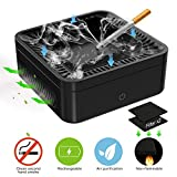 FORTGESCHE Smokeless Ashtray for Cigarette Multifunction Air Purifier Desktop Smoking Ash Tray for Indoor Outdoor Use, USB Rechargeable, 2X Activated Carbon Filter to Clean Secondhand Smoke(Black)
