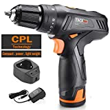 "TACKLIFE 12V Cordless Drill Driver,3/8"" Metal Chuck,2 Speeds Compact Drill Set,2000mAh Lithium Battery Pack,PCD02C"