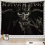 Batmerry Skull Tapestry, Baron Samedi Voodoo Art Picnic Mat Hippie Trippy Tapestry Wall Art Meditation Decor for Bedroom Living Room Dorm, 51.2 x 59.1 Inches, Black 2