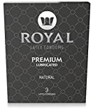 Royal Ultra Thin Condoms - Premium Lubricated, All Natural, Organic, Vegan, High Quality Non-Toxic, Cruelty Free, Odor Free Latex, 3 Pack