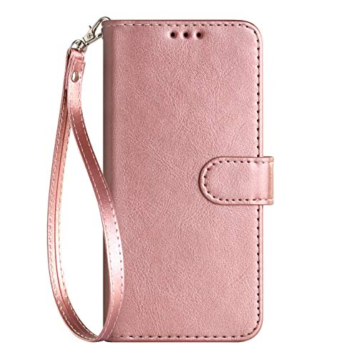iPod Touch Case 7th Generation 2019 5th / 6th, for iPod 5/6 / 7 with Screen Protector Leather Bling Glitter Wallet Kickstand Card Holder Slot for Men Boys Girls/Women (Rose Gold(Pure))