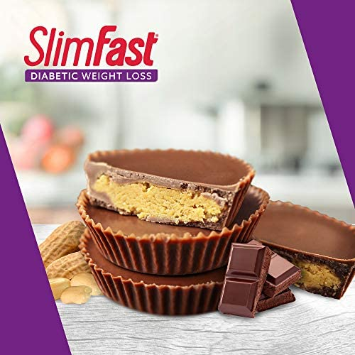 SlimFast Diabetic Weight Loss Snack, Peanut Butter Cup (14 Count of 0.6 Oz Cups Each), 8.4 Oz 8