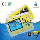 Kids Camera Underwater Digital Camera-IP68 Waterproof Toddler Camera,Video Recorder Action Preschool camera,2.0 Inch LCD Display,16G TF Card Floating Wrist Strap,8X Digital Zoom, Flash and Mic for Kid